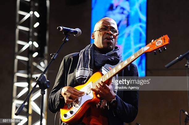 Guitarist of American jazz group Jeff Ballard Trio Lionel Loueke plays guitar during 19th Annual Gnaoua Music Festival in Essaouira Morocco on May 13...