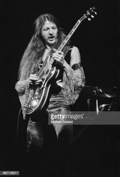 Guitarist Patrick Simmons performing with American rock group The Doobie Brothers at the Rainbow Theatre London 31st January 1974