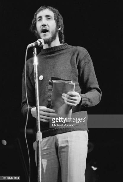 Guitarist Pete Townshend at rehearsals for the stage version of the Who's rock opera 'Tommy' at the Rainbow Theatre London 9th December 1972