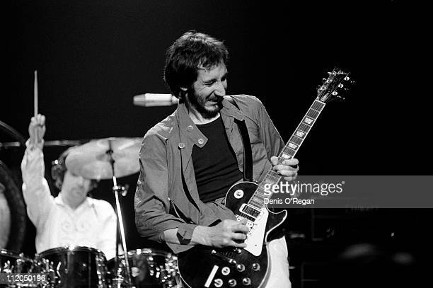 Guitarist Pete Townshend of The Who at Shepperton 1978 Drummer Keith Moon is behind him