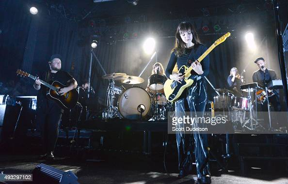 Guitarist Ragnar Porhallsson and singer/guitarist Nanna Bryndis Hilmarsdottir from the band Of Monsters and Men perform onstage at El Rey Theatre on...