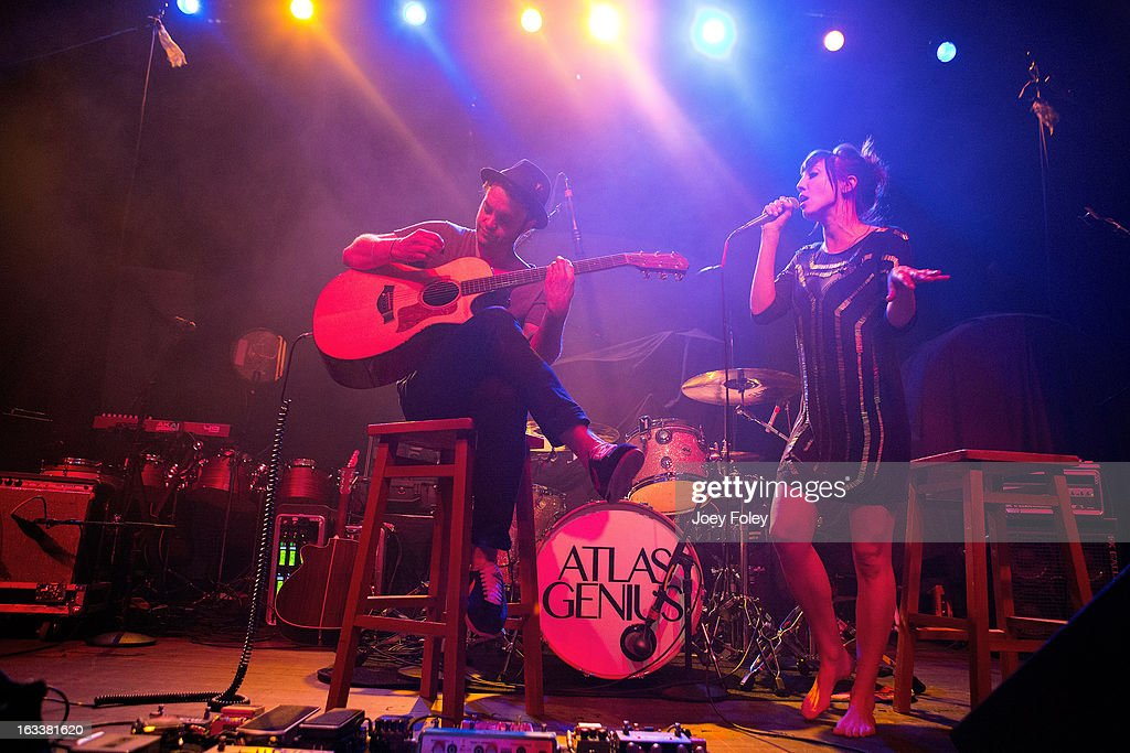 Guitarist Rich Koehler and vocalist <a gi-track='captionPersonalityLinkClicked' href=/galleries/search?phrase=Aja+Volkman&family=editorial&specificpeople=5296114 ng-click='$event.stopPropagation()'>Aja Volkman</a> of Nico Vega performs at the Egyptian Room at Old National Centre on February 28, 2013 in Indianapolis, Indiana.