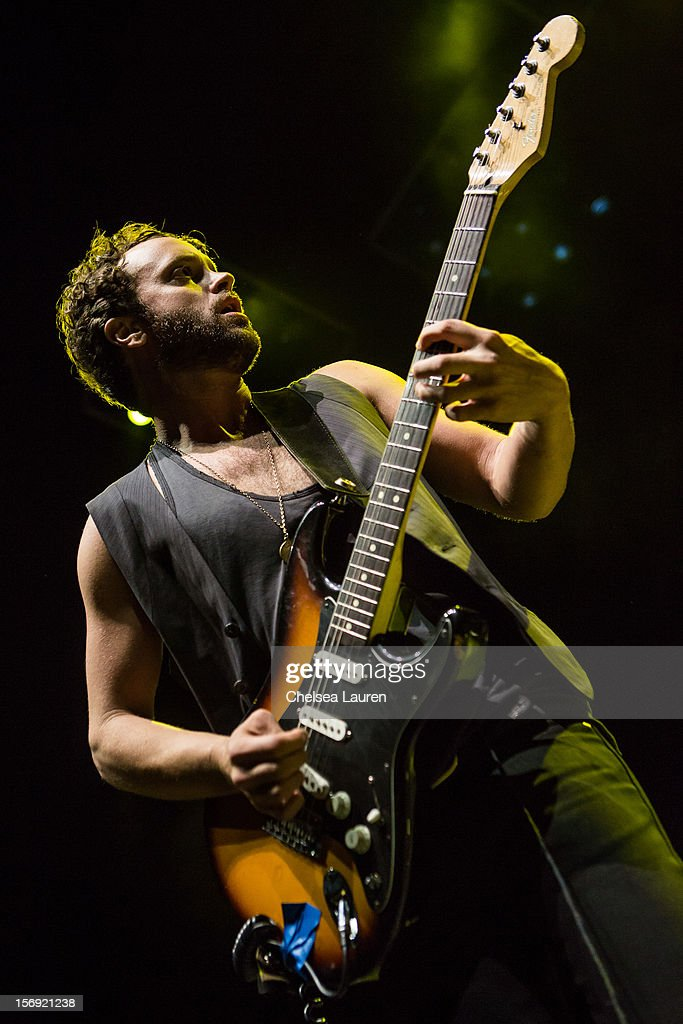 Guitarist Rich Koehler of Nico Vega performs at Gibson Amphitheatre on November 24, 2012 in Universal City, California.