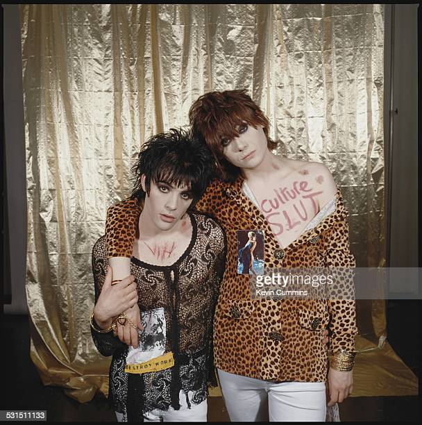 Guitarist Richey James Edwards and bassist Nicky Wire of Welsh alternative rock group the Manic Street Preachers May 1991