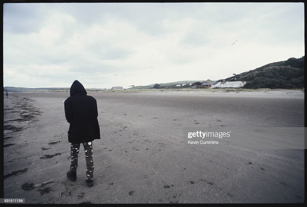 Guitarist Richey James Edwards, of Welsh alternative rock group the Manic Street Preachers, on the beach at Swansea, south Wales, 19th August 1994.