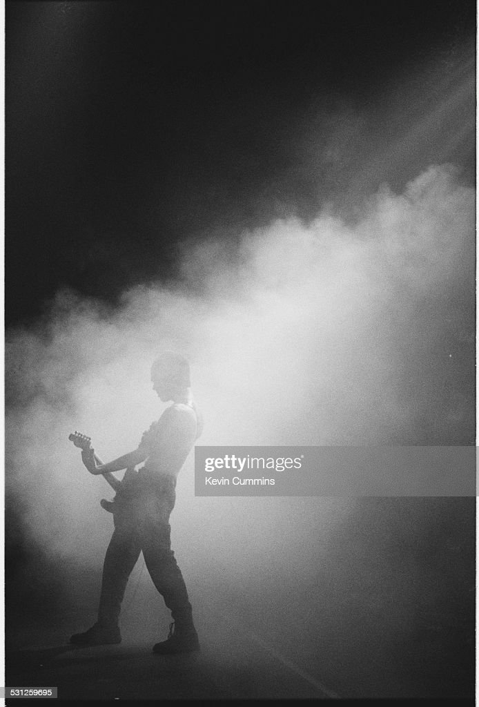 Guitarist Richey James Edwards performing with Welsh alternative rock group the Manic Street Preachers, at one of their two concerts at MBK Hall, Bangkok, Thailand on 22nd and 23rd April 1994.