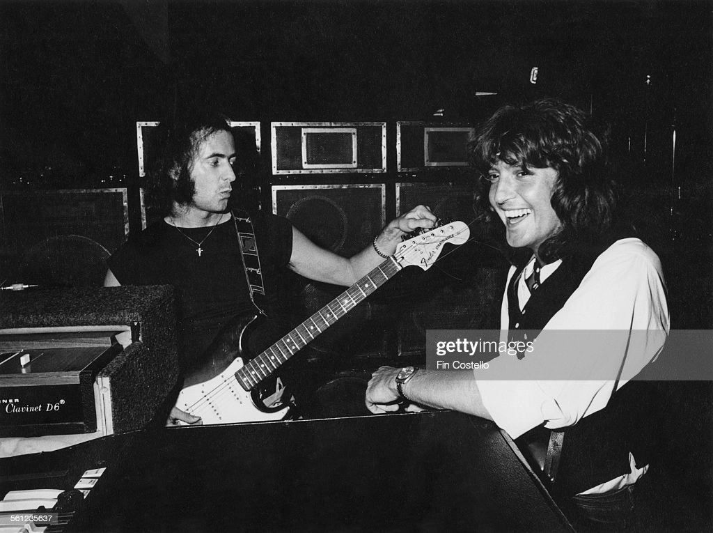 Guitarist Ritchie Blackmore (left) and bassist Bob Daisley, of British rock group Rainbow, 1977.