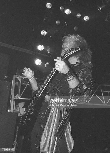 Guitarist Robbin Crosby of the rock band 'Ratt' pefrofms onstage in 1991 in Los Angeles California