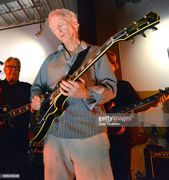 Guitarist Robby Krieger of The Doors performs onstage to celebrate the launch of the 2016 line of Gibson USA and Gibson Memphis guitars at Gibson...
