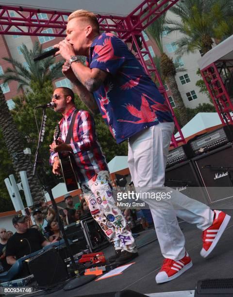 Guitarist Rodney Sheppard and singer Mark McGrath of Sugar Ray perform at the Flamingo Go pool at Flamingo Las Vegas on June 25 2017 in Las Vegas...