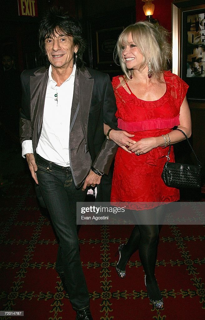 Guitarist Ron Wood and his wife Jo Wood attend the Warner Bros. Pictures premiere of 'The Departed' at the Ziegfeld Theatre September 26, 2006 in New York City.