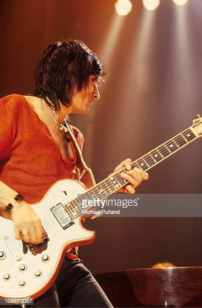 Guitarist Ronnie Wood of the Rolling Stones performing on stage during their European tour in 1982