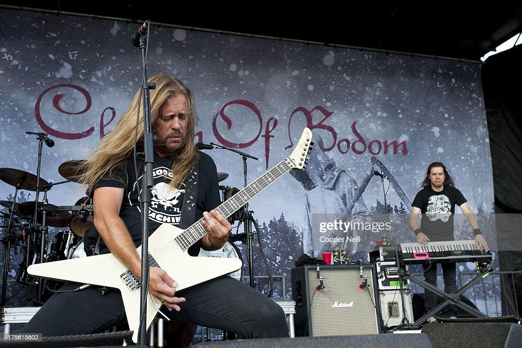 Guitarist Roope Latvala of Children of Bodom performs during the 2013 Rockstar Energy Drink Mayhem Festival at Gexa Energy Pavilion on August 4 2013...