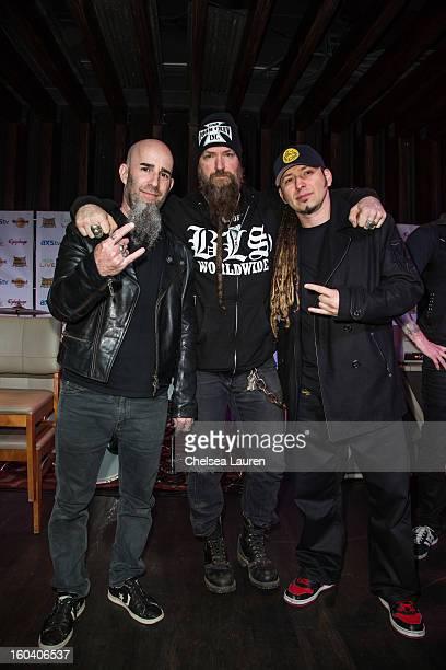 Guitarist Scott Ian of Anthrax musician Zakk Wylde of Black Label Society and guitarist Zoltan Bathory of Five Finger Death Punch attend the Revolver...