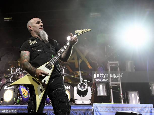 Guitarist Scott Ian of Anthrax performs during the Las Rageous music festival at the Downtown Las Vegas Events Center on April 21 2017 in Las Vegas...