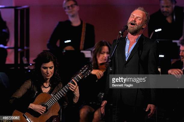 Guitarist Sharon Isbin and Singer Sting perform onstage during Change Begins Within A David Lynch Foundation Benefit Concert on November 4 2015 in...
