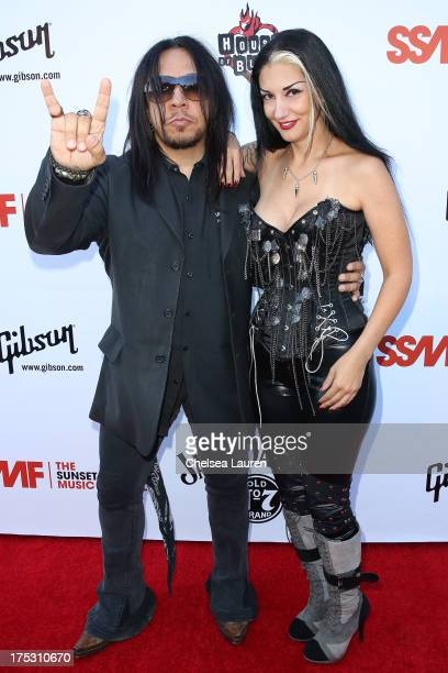 Guitarist Sin Quirin of Ministry and Metal Sanaz arrive at the 6th annual Sunset Strip Music Festival launch party honoring Joan Jett at House of...