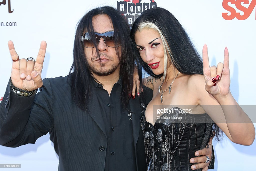 Guitarist Sin Quirin of Ministry (L) and Metal Sanaz arrive at the 6th annual Sunset Strip Music Festival launch party honoring Joan Jett at House of Blues Sunset Strip on August 1, 2013 in West Hollywood, California.