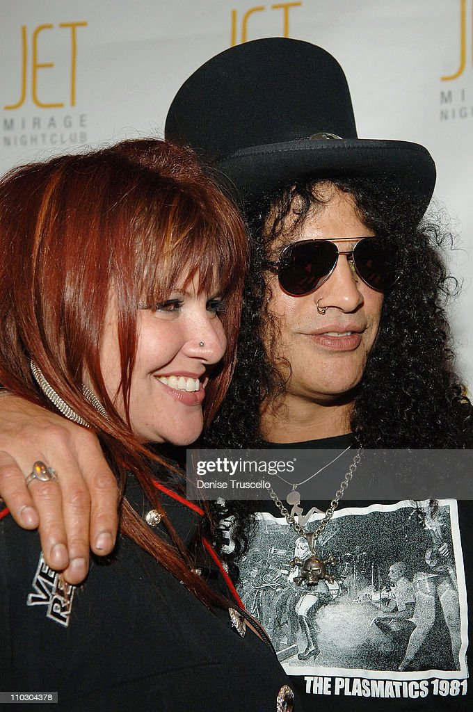 Guitarist Slash and his wife Perla Ferrer arrive at a Velvet Revolver after party at JET Nightclub at The Mirage Hotel and Casino on September 21, 2007 in Las Vegas, Nevada.