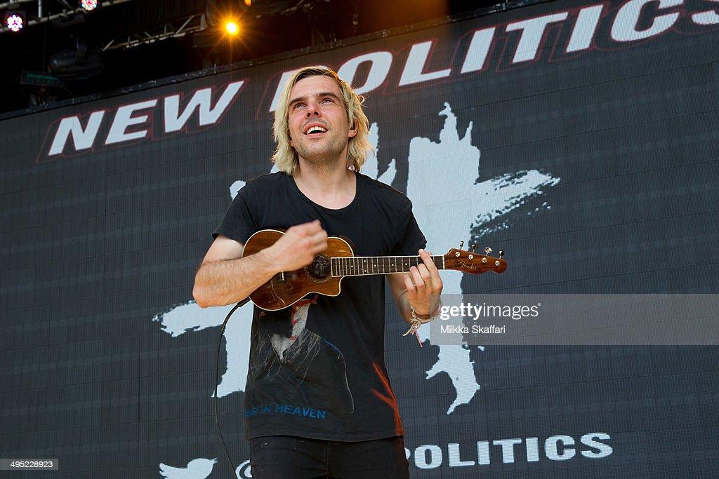 Guitarist Soren Hansen of New Politics performs at Live 105 BDF on June 1, 2014 in Mountain View, California.