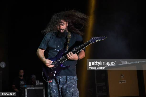 Guitarist Stephen Carpenter of Deftones performs at Concord Pavilion on July 6 2017 in Concord California