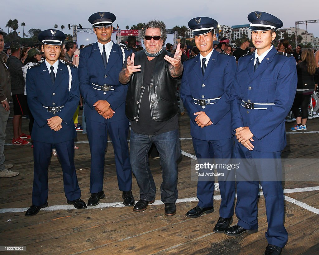 Guitarist Steve Jones (C) attends the Cycle For Heroes: A Rock Inspired Ride on at the Santa Monica Pier on September 11, 2013 in Santa Monica, California.