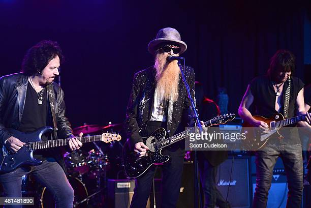 Guitarist Steve Lukather of Toto guitarist Billy Gibbons of ZZ Top and guitarist Richie Sambora of Bon Jovi perform on stage at The Roxy Theatre on...