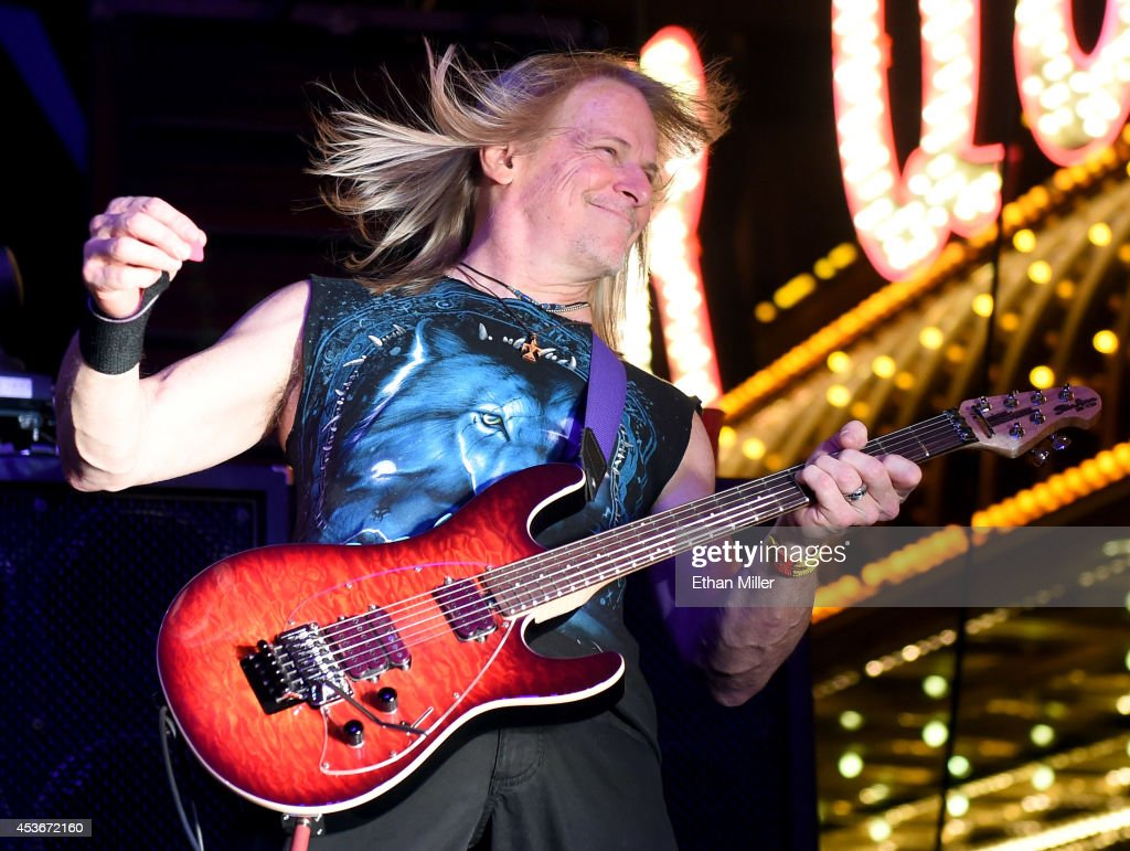 Guitarist Steve Morse of Deep Purple performs at the Fremont Street Experience on August 15, 2014 in Las Vegas Nevada.