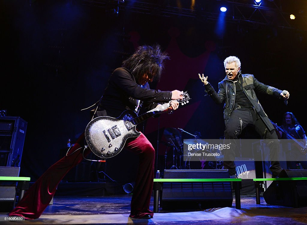 Guitarist <a gi-track='captionPersonalityLinkClicked' href=/galleries/search?phrase=Steve+Stevens&family=editorial&specificpeople=225031 ng-click='$event.stopPropagation()'>Steve Stevens</a> and <a gi-track='captionPersonalityLinkClicked' href=/galleries/search?phrase=Billy+Idol&family=editorial&specificpeople=138578 ng-click='$event.stopPropagation()'>Billy Idol</a> perform during '<a gi-track='captionPersonalityLinkClicked' href=/galleries/search?phrase=Billy+Idol&family=editorial&specificpeople=138578 ng-click='$event.stopPropagation()'>Billy Idol</a>: Forever' opening night residency at House of Blues at Mandalay Bay Resort and Casino on March 16, 2016 in Las Vegas, Nevada.