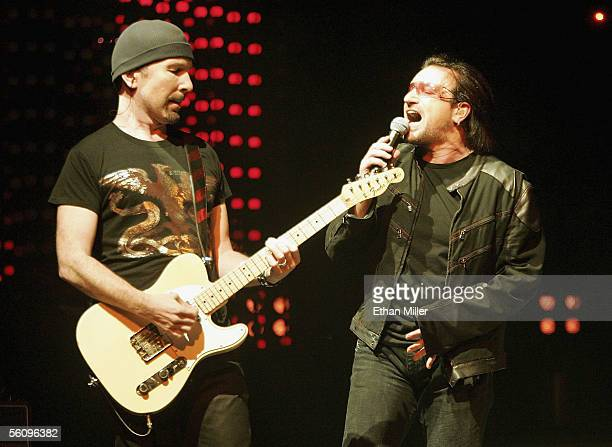 U2 guitarist The Edge and singer Bono perform during the first of two soldout shows of their 'Vertigo' tour at the MGM Grand Garden Arena November 4...