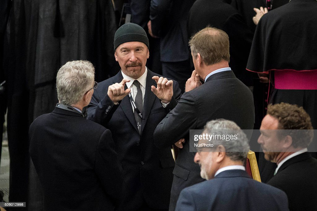 U2 guitarist 'The Edge' attends a special audience celebrates by Pope Francis with participants at a congress on the progress of regenerative medicine and its cultural impact in the Paul VI hall in Vatican City, Vatican on April 29, 2016.