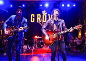 Guitarist Tim Lopez and frontman Tom Higgenson of the band Plain White T's perform onstage at Citi Presents Plain White T's at the Grove's 2016...