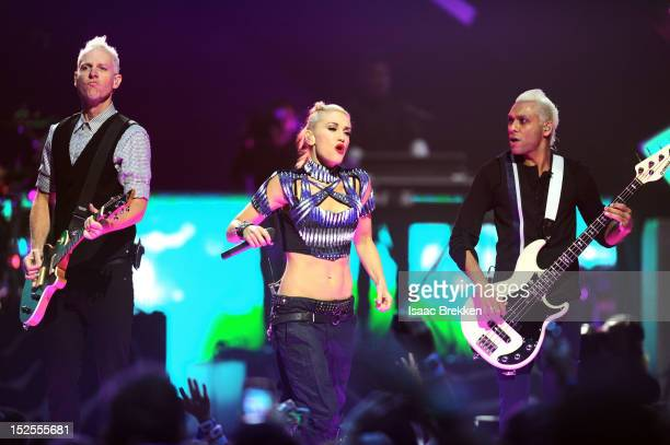 Guitarist Tom Dumont singer Gwen Stefani and bassist Tony Kanal of No Doubt perform onstage during the 2012 iHeartRadio Music Festival at the MGM...