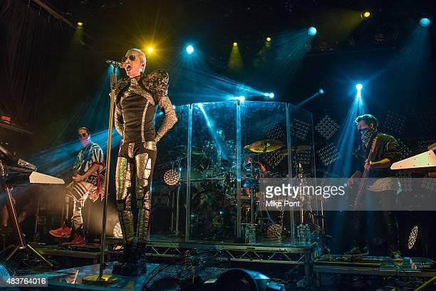 Guitarist Tom Kaulitz singer Bill Kaulitz drummer Gustav Schafer and Bassist Georg Listing of Tokio Hotel perform during their 'Feel It All World...