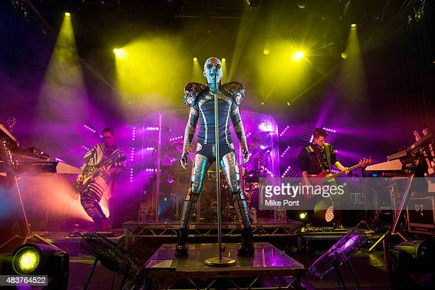 Guitarist Tom Kaulitz singer Bill Kaulitz drummer Gustav Schafer and Bassist Georg Listing of Tokio Hotel perform during their 'Feel It All World...