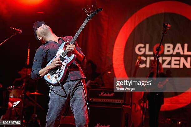 Guitarist Tom Morello performs onstage at Global Citizen The World On Stage at NYU Skirball Center on September 22 2016 in New York City