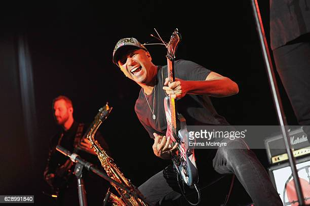 Guitarist Tom Morello performs onstage with the band X Ambassadors at 1067 KROQ Almost Acoustic Christmas 2016 Night 1 at The Forum on December 10...