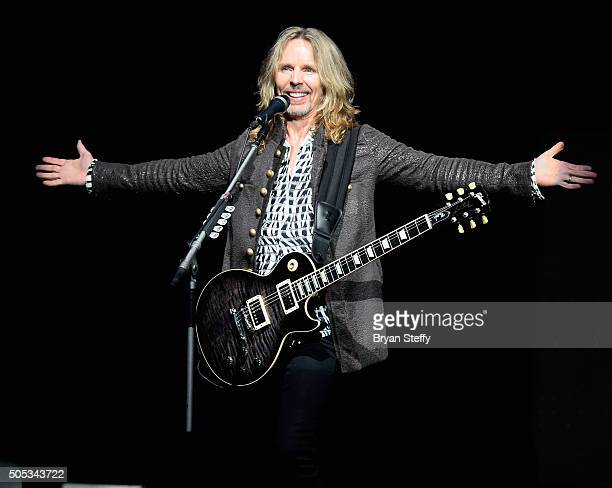 Guitarist Tommy Shaw of Styx performs at The Pearl concert theater at Palms Casino Resort on January 16 2016 in Las Vegas Nevada