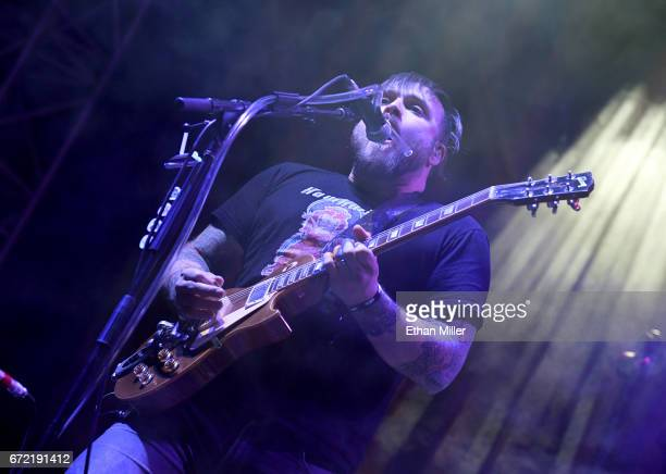 Guitarist Travis Stever of Coheed and Cambria performs during the Las Rageous music festival at the Downtown Las Vegas Events Center on April 21 2017...