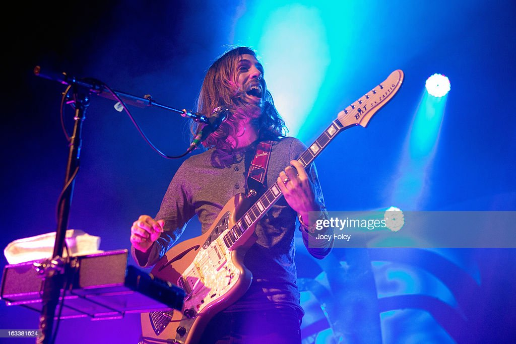 Guitarist Wayne Sermon of Imagine Dragons performs at the Egyptian Room at Old National Centre on February 28, 2013 in Indianapolis, Indiana.