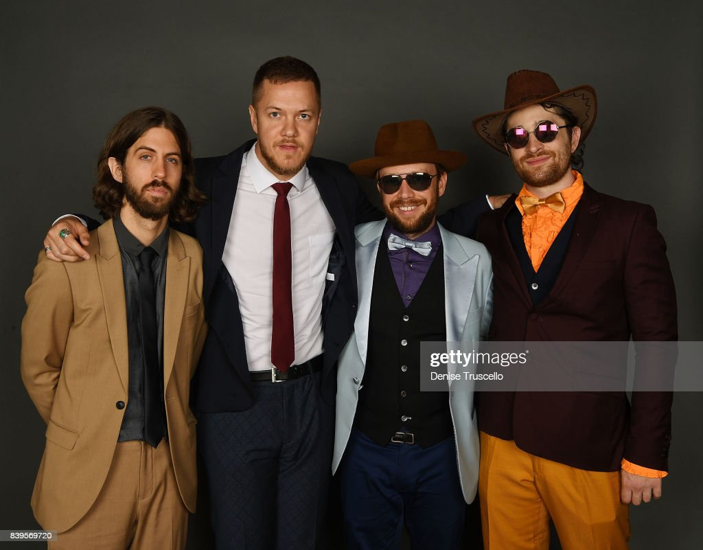 Guitarist Wayne Sermon, singer Dan Reynolds, bassist Ben McKee and drummer Daniel Platzman of Imagine Dragons arrive at the Tyler Robinson Foundation's 4th annual 'Believer Gala' at Caesars Palace on August 25, 2017 in Las Vegas, Nevada.