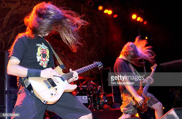 Guitarist Willy Adler and bassist John Campbell of Lamb of God perform as part of the Sounds of the Underground Tour at the Shoreline Amphitheatre in...