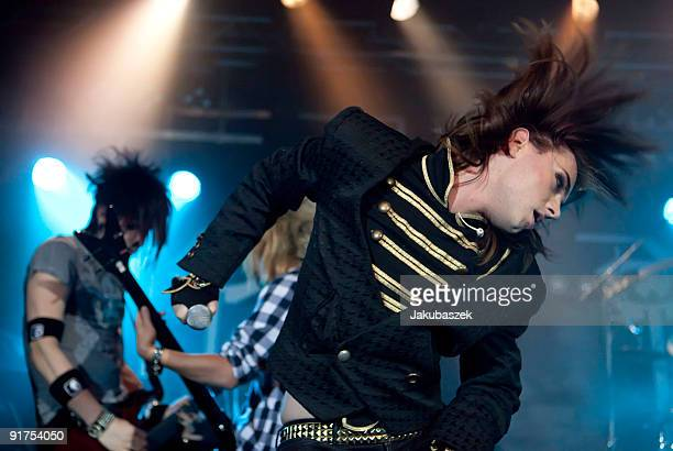 Guitarist Yu bassist Kiro and singer Strify of the German rock band Cinema Bizarre perform live during a concert at the Postbahnhof on October 11...
