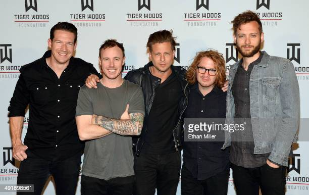 Guitarist Zach Filkins drummer Eddie Fisher singer Ryan Tedder guitarist Drew Brown and bassist Brent Kutzle of the band OneRepublic attend Tiger Jam...