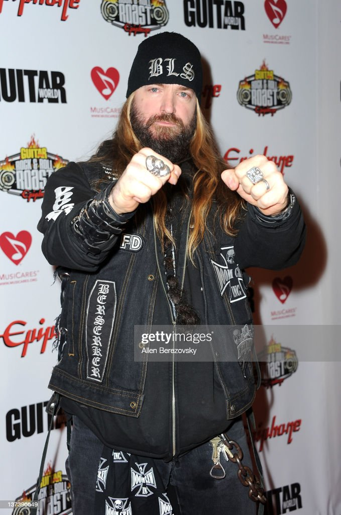Guitarist Zakk Wylde of Black Label Society arrives at the Guitar World's Rock & Roll roast of Zakk Wylde at City National Grove of Anaheim on January 19, 2012 in Anaheim, California.