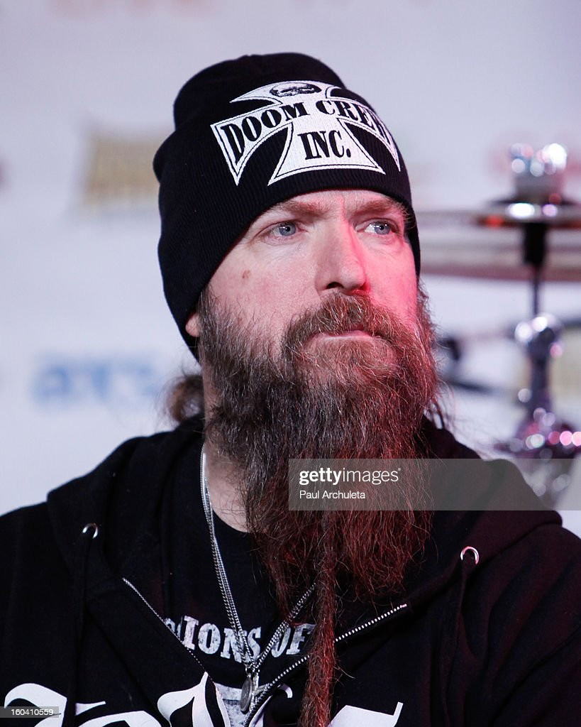 Guitarist <a gi-track='captionPersonalityLinkClicked' href=/galleries/search?phrase=Zakk+Wylde&family=editorial&specificpeople=2090508 ng-click='$event.stopPropagation()'>Zakk Wylde</a> of the Metal Band Black Lable Society attends the 5th annual Revolver Golden Gods Awards nominee announcements at the Hard Rock Cafe Hollywood on January 30, 2013 in Hollywood, California.