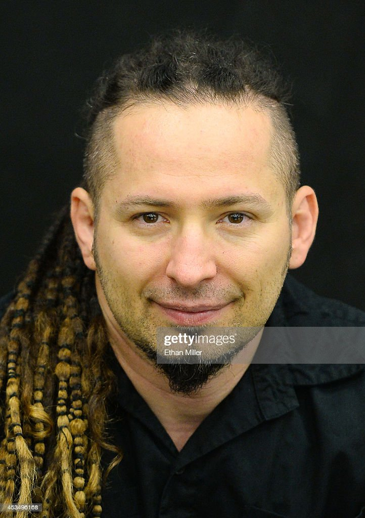 Guitarist Zoltan Bathory of Five Finger Death Punch appears at Nellis Air Force Base as the band highlights its campaign to raise awareness about veterans suffering from post-traumatic stress disorder (PTSD), in part by launching the video 'Wrong Side of Heaven,' that deals with the subject on August 11, 2014 in Las Vegas, Nevada.