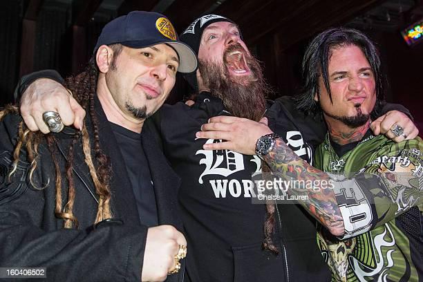Guitarist Zoltan Bathory of Five Finger Death Punch musician Zakk Wylde of Black Label Society and guitarist Jason Hook of Five Finger Death Punch...