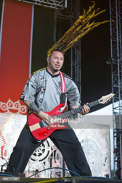 Guitarist Zoltan Bathory of Five Finger Death Punch performs on stage during River City Rockfest at the ATT Center on May 24 2014 in San Antonio Texas