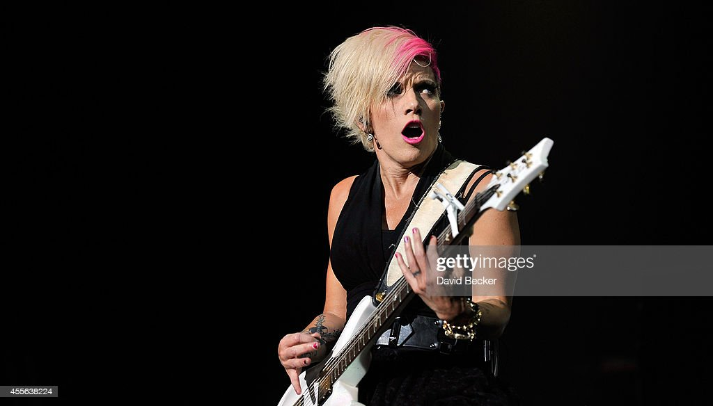 Guitarist/keyboardist Korey Cooper of Skillet performs during the 2014 Rockstar Energy Uproar Festival at The Joint inside the Hard Rock Hotel Casino...